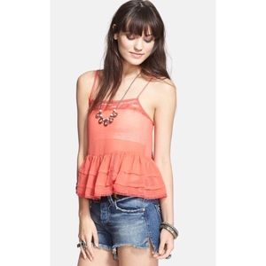 Free People Orange Lace Trim Peplum Tank Cami